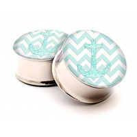 Anchor Chevron Ear Gauges in size 6g,4g,2g,0g,00g,7/16inch,1/2inch,13mm,9/16inch,5/8inch,7/8inch,1inch-Ear gauges