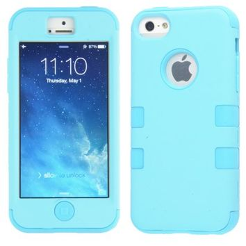 MagicSky Plastic + Silicone Tuff Dual Layer Hybrid Case for Apple iPhone 5C - 1 Pack - Retail Packaging - Blue/Blue
