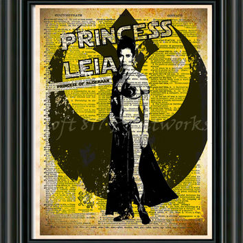 Star Wars Art - Princess Leia - Vintage Silhouette print  - Retro Star Wars Art - Dictionary print art