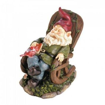 Solar Red Bird Rocking Chair Gnome (pack of 1 EA)