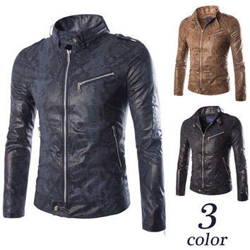 New Style Biker Zip Up Faux Leather Jacket