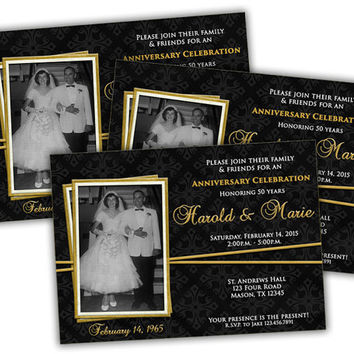 Elegant Gold Ribbon 50th Wedding Anniversary Party Invitations - 50th Vow Renewal Wedding Party - 50th Anniversary Party - Photo Invitation