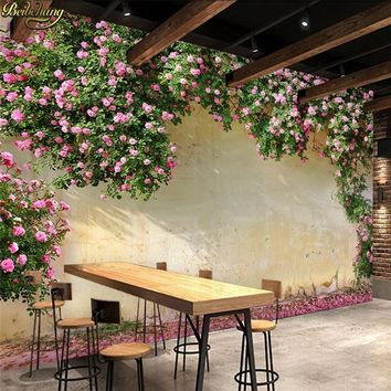 beibehang Custom 3d Wallpaper Large Mural 3d Rose Rose Cafe Restaurant Theme Hotel Background Mural papel de parede Wall paper