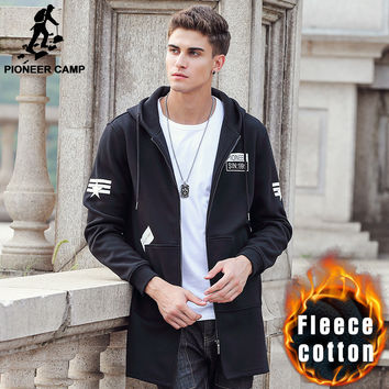 Pioneer Camp autumn winter long hoodie hoodies men brand clothing fleece warm male sweatshirts quality men jacket hoodies 622141