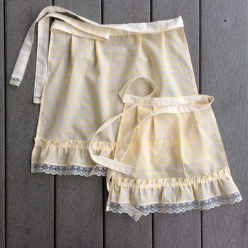 Yellow Ruffled Apron SET, Small Cotton apron, Yellow Gingham Apron Gift for Mother and Girl French Maid apron Old Fashioned Vintage inspired