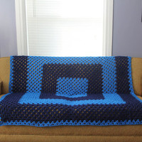 Afghan Crochet Blanket - Blue Stripe Granny Square Full Large
