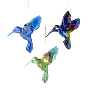 Acrylic Hummingbird Christmas Ornaments, Blue, 4-Inch, 3-Piece