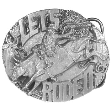 Sports Accessories - Let's Rodeo Antiqued Belt Buckle