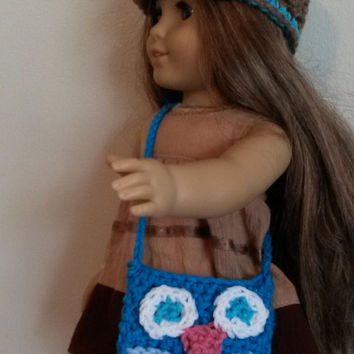 "Owl purse for American girl/ 18"" doll (teal, crochet, pocket, blue, bird)"
