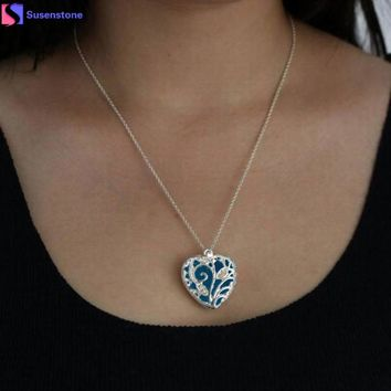 2016 New Fashion Heart Shape Shinning In The Darkness Necklace Magical Aqua Blue Heart Glow In The Dark Pendant Necklace Gift
