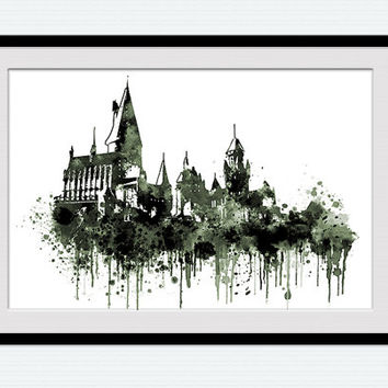Watercolor Hogwarts castle print Harry Potter colorful poster Colorful illustration for gift Home decoration Kids room decor Nursery  W167