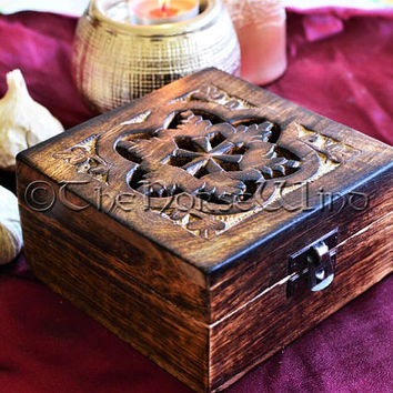 Hand Carved Wooden Box, Tarot Box, Wicca Altar, Pagan Box, Wooden chest, Jewelry Box, Witch, Occult