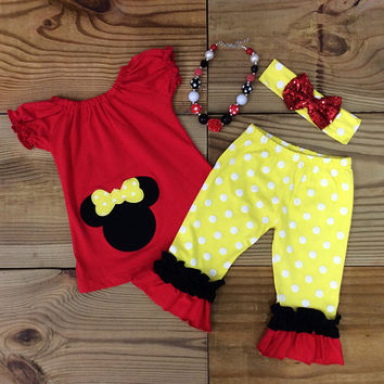 Minnie Mouse Polka Dot Capri Set