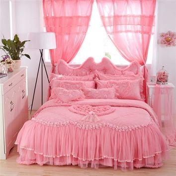 Cool Luxury Wedding Bedding Set  Lace Stain Cotton Fabric King Queen Twin size Girls Princess Bed skirt set Duvet Cover Pillow shamsAT_93_12