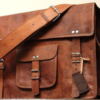 Tanned Leather Bag Leather School Bag Messenger Bag Leather Purse Women Handbag Leather Satchel Laptop Bag