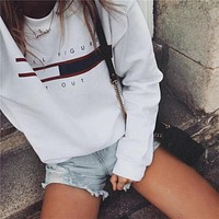 Letter Print Women Casual Loose Round Neck Long Sleeve Sweater Tops