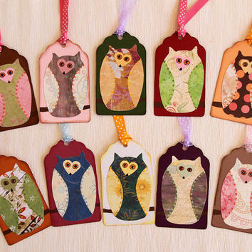 Owl Tag Set for Birthdays, Baby Shower, Children's Party, Scrapbooking Embellishment, Halloween Tag, Party Favor, Gift Tag, Made to Order