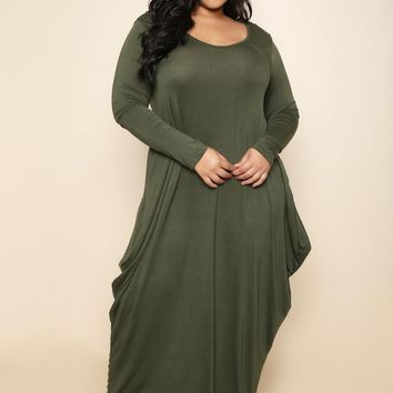 Olive Flowy Draped Long Sleeves Plus Size Midi Dress
