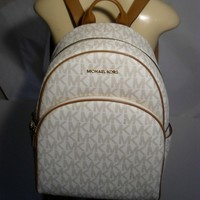 NWT Michael Kors Abbey Vanilla Acorn PVC Large Backpack School Book Bag MK