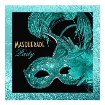 Masquerade quinceañera birthday turquoise mask announcements from Zazzle.com