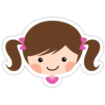 Cute cartoon girl with brown hair in pigtails sticker