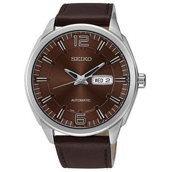 Seiko Mens Recraft Automatic Watch - Brown Dial - Stainless Steel - Brown Strap