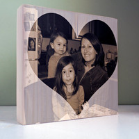 Photo Gift for Mom: Mothers Day Photo Gift, Mom Mommy, Personalized Photo Block, wood block print, Gift from Kids, birthday, heart, love