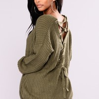 Got My Back Lace Up Sweater - Olive