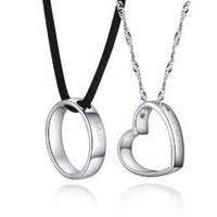 Couples 925 Sterling Silver Pair Round & Heart Pendant Necklace Engraved Love Forever