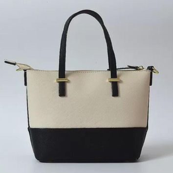 ac NOVQ2A Spade Women Shopping Leather Tote Handbag white/black