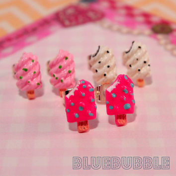 FUNKY MINI ICE CREAM EARRINGS SWEET CUTE KITSCH KAWAII RETRO LOLLY POP 80S COOL