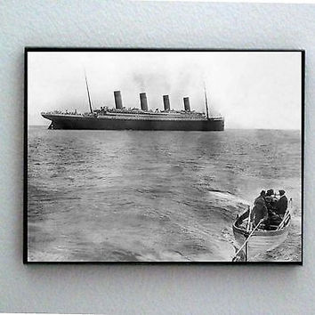 Framed last known picture of RMS Titanic Cruise Ship sailing in 1912