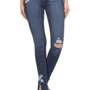 MDIGYW3 Encore Plus Size High Rise Distressed Skinny Jeans