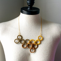 Unique Upcycled Statement Piece Geometric Necklace in Brown Shades
