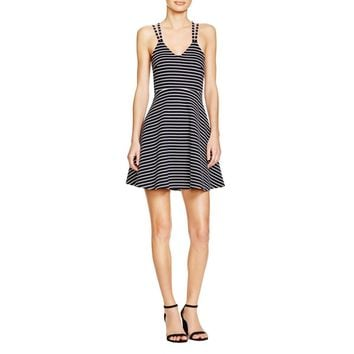 French Connection Womens Striped Criss-Cross Back Skater Dress