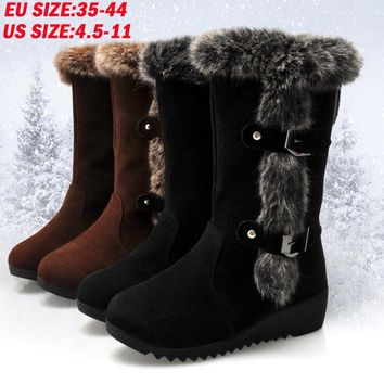 Plus Size 4.5-11 Women Winter Warm Fur Lined Wedge Snow Boots