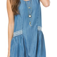 O'Neill 'Gold Coast' Embroidered Chambray Shift Dress | Nordstrom