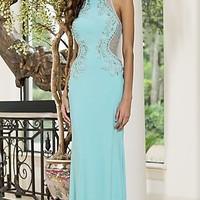 Long high Neck Blue Open Back Prom Dress by Sean