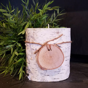 Birch Candle Holder, Real Natural Birch Log Tealight Candle Holder w/ Birch Gift Tag, Holiday Decor, Country Wedding,  Rustic Decor, RST234