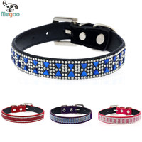 Rhinestone Studded Bling Pet Dog Collar Soft Suede+PU Leather Puppy Cat Collar