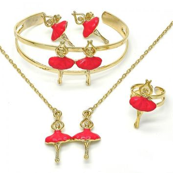 Gold Layered Earring and Pendant Children Set, Golden Tone