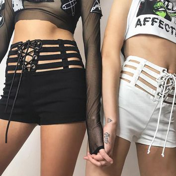 Hollow Out Elastic Waist Lace Up Shorts