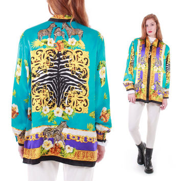 90s Vintage Silk Zebra Baroque Print Blouse Button Up Collared Shirt Versace Style Trophy Royal Swag Colorful Gold Retro Women Size Large