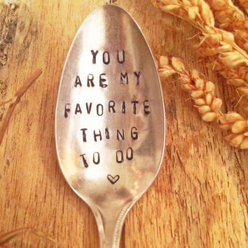 Censored Gifts, Hand Stamped Spoon, Racy Gifts, You're My Favorite This To Do, Gag Gifts, Gag Gifts, Adult Gifts, Adult Christmas Gifts