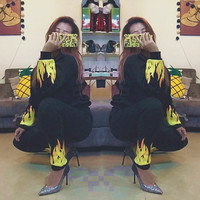 Fashion Long Sleeve Flame Print Casual Sports Hooded Three Piece Suit