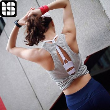 LISM Sexy Backless Yoga Shirts Workout Tops for Women Sleeveless Vest Gym Sports Quick Dry Breathable T-Shirt Top Clothing