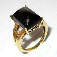 Black Onyx Ring - Designer Ring - Gemstone Ring - Prong Set Ring - Gold Vermeil Ring - Gift Ring - Brass Ring, Gold Plated Jewelry