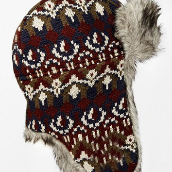 Faux Fur Knitted Trapper Hat