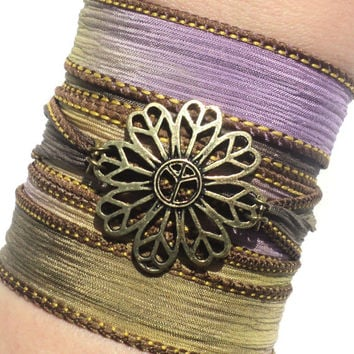 Bohemian Silk Wrap Bracelet Yoga Jewelry Peace Flower Hippie Unique Earthy Etsy Gift For Her Mothers Day Under 50 Item Y142