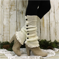 BLISS button down leg warmers - cream